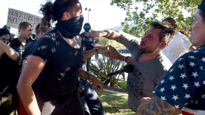 While Antifa and BLM continue to wage a campaign of terror in major American cities, patriotic attendees at a Latinos For Trump rally in Tujunga, California dealt with the far-left anarchists as soon as they showed their face at the rally and threatened to cause a scene.