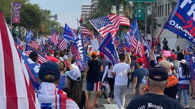 Massive crowd of Trump supporters flood the streets of Beverly Hills
