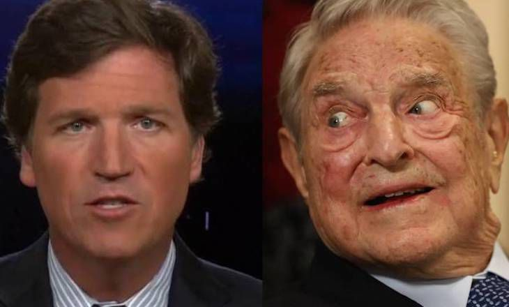 Tucker Carlson says George Soros is trying to take his show off the airwaves