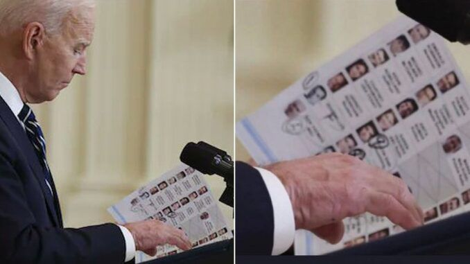Joe Biden's cheat sheet contained names and photos of friendly reporters during presser