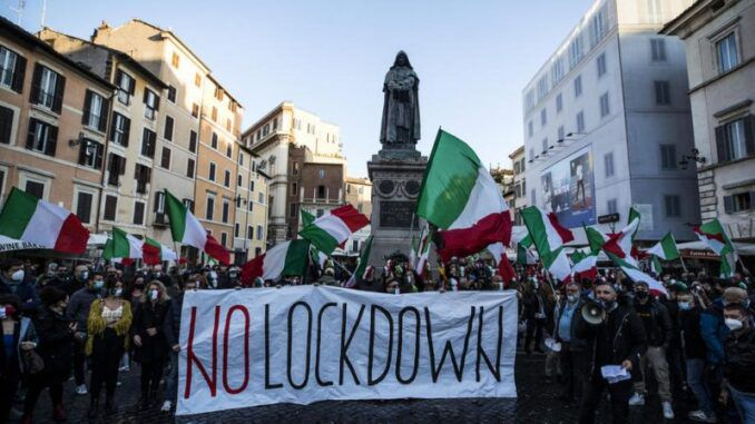 Italy lockdown protest