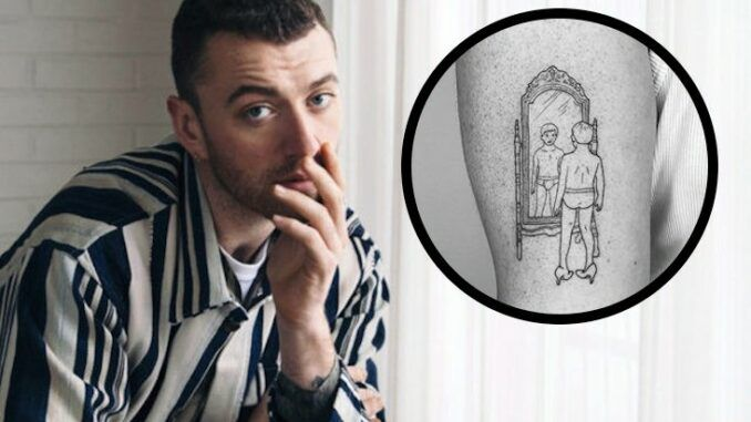 Singer Sam Smith seen with creepy tattoo featuring young boy in underwear wearing high heels