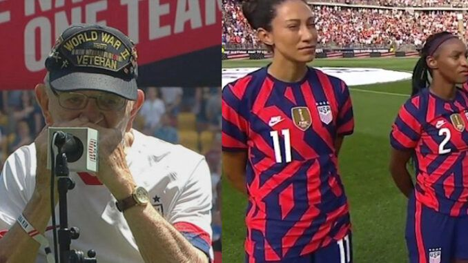 The U.S. Soccer teams denies that the video shows any players disrespecting World War II veteran Pete DuPré and posted a video of players, including Megan Rapinoe, greeting him and signing a ball.